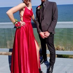 Betsy & Adam Red Prom Dress